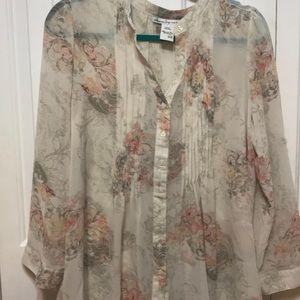 Sheer Floral Top Plus Size